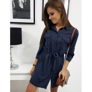 Tmavě modré košilové dámské šaty se zapínáním na knoflíky a páskem