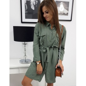 Moderní dámské army zelené šaty košilového střihu