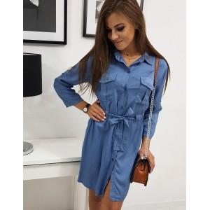 Stylové dámské košilové šaty modré barvy s páskem