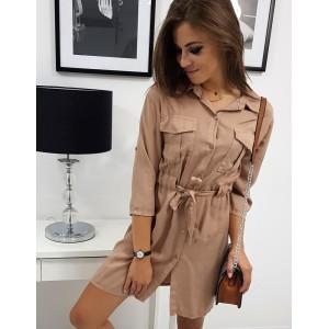 Dámské košilové béžovo hnědé oversize šaty s páskem