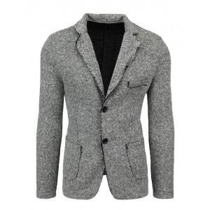Stylové pánské šedé sako ležérní střih s trendy prošíváním