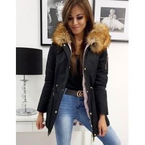 Oboustranná dámská bunda na zimu černo růžová s bohatou kožešinou