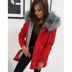 Dámská červená zimní bunda s bohatou a odnímatelnou šedou kožešinou