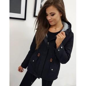 Trendy dámská černá přechodná bunda se stahováním v pase