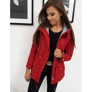 Originální dámská červená bunda parka s šedou podšívkou a kapucí
