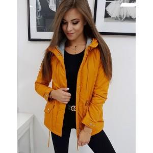 Krásná oranžovo žlutá podzimní přechodná dámská bunda s kapucí