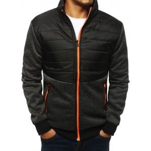 Černá bunda na podzim pro pány s ornažovým zipem