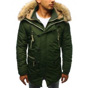 Dlouhá pánská zimní bunda s kapucí a kožešinou zelené barvy