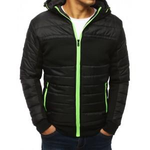 Černá přechodná bunda s kapucí na zip