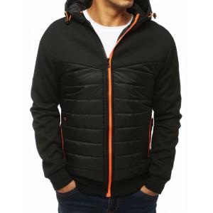 Prošívaná černá bunda pro pány na podzim