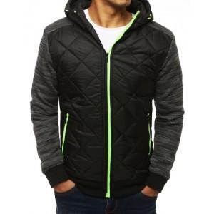 Kvalitní černá bunda na podzim s kapucí