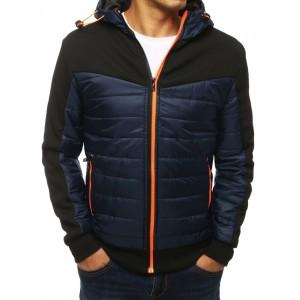 Tmavomodrá prošívaná bunda na zip s kapucí