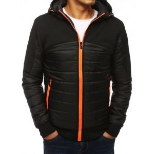 Černá pánská bunda s výrazným zipem oranžové barvy