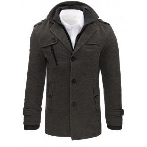 Moderní šedý kabát pro pány na zimu