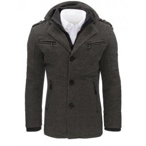 Pánský kabát s kapsami na zip a zapínáním na knoflíky