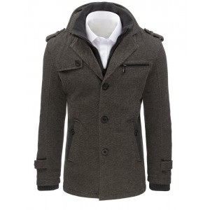 Pánský kabát se zapínáním na knoflíky v šedé barvě