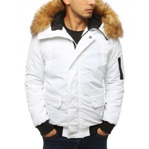 Bílá pánská zimní bunda s kapucí a hustou kožešinou