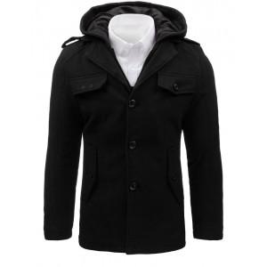 Moderní pánský kabát s kapucí v černé barvě