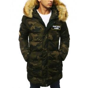 Dlouhá army zimní bunda s kožešinou a prošíváním