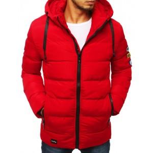 Červená pánská prošívaná bunda na zimu s kapucí