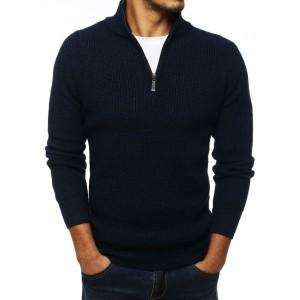 Elelgantný tmavě modrý svetr s límcem na zip
