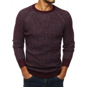 Bordový pánský svetr s kulatým výstřihem