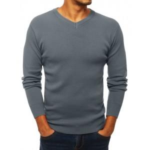 Šedý pánský svetr s véčkovým výstřihem