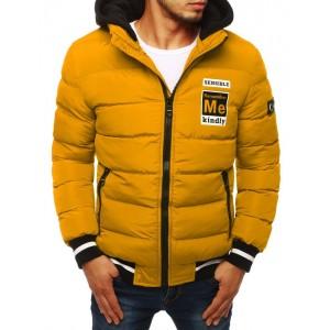 Trendová zimní bunda žluté barvy s odnímatelnou kapucí