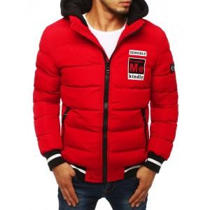 Prošívaná pánská bunda na zimu červené barvy