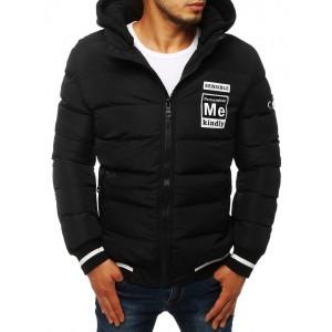 Černá pánská zimní bunda s bílým potiskem