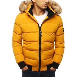 Žlutá prošívaná bunda na zimu s kapucí a kožešinou