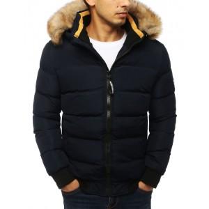 Tmavě modrá pánská bunda na zimu s kapucí