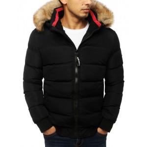 Černá zimní bunda s odnímatelnou kapucí a kožešinou pro pány