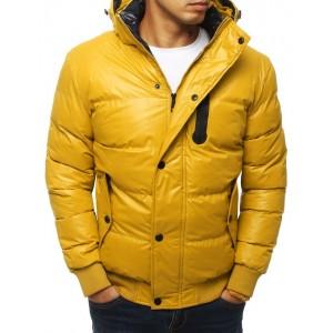 Moderní žlutá prošívaná bunda na zimu s kapucí