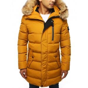 Dlouhá prošívaná bunda žluté barvy s kapucí a kožešinou