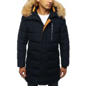 Trendová dlouhá zimní bunda tmavě modré barvy