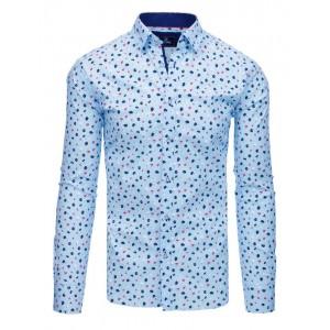 Stylová světle modrá pánská košile s potiskem barvených květů