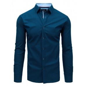 Luxusní pánská modrá košile slim s jemným světle modrým vzorem