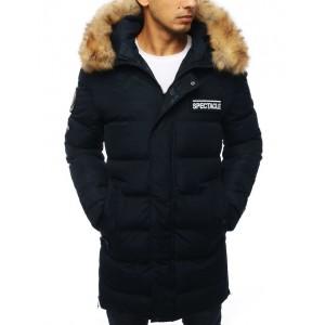 Tmavě modrá prošívaná bunda dlouhého střihu s kapucí