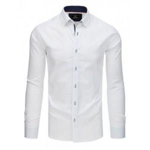 Luxusní bílá pánská košile s dlouhým rukávem a jemnou modrým potiskem