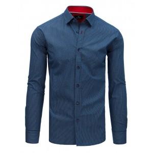 Společenská pánská košile modrá s potiskem a červeným límcem