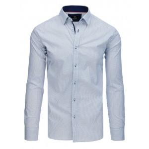 Moderní pánská bílá košile s dlouhým rukávem a modrým potiskem