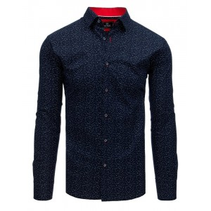 Elegantní granátově modrá pánská slim košile s bílou aplikací listů