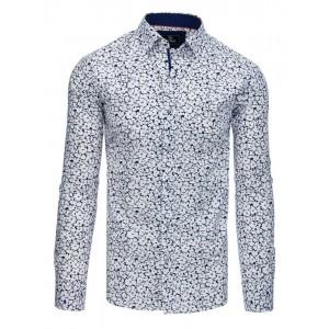 Krásná bílá pánská košile slim fit s abstraktní potiskem modrých květů