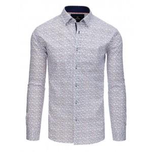 Moderní bílá pánská košile slim s jemným potiskem větviček