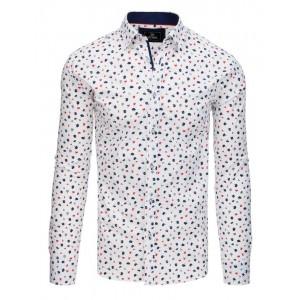 Stylová pánská bílá košile slim fit s ozdobnými modro červenými květy