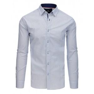 Společenská bílá pánská košile s jemným modrým vzorem