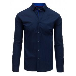 Tmavě modrá pánská košile slim fit s jemným potiskem