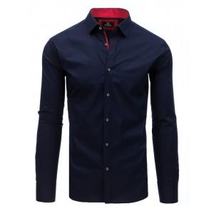 Granátově modrá pánská košile s červeným potiskem a límcem
