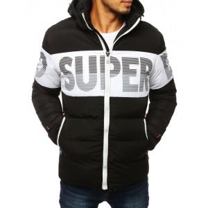 Černo bílá pánská bunda na zimu s odnímatelnou kapucí